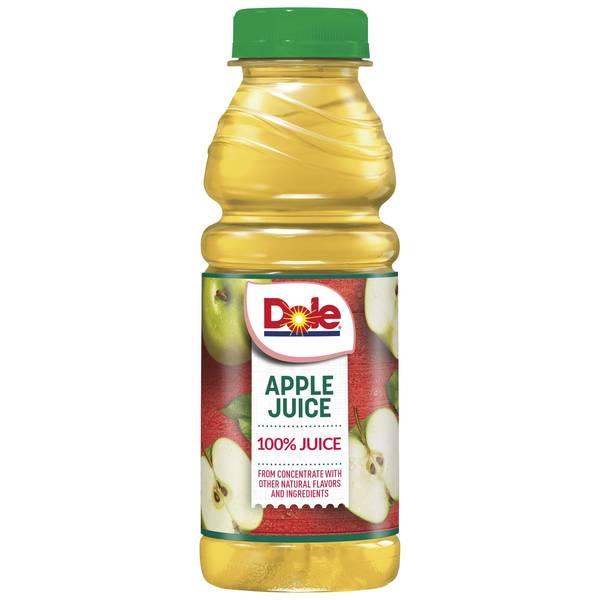 BEVERAGES & MIXERS- APPLEJUICE- Dole 100% Juice Plastic Bottles 12/15.2oz
