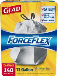 TRASH BAGS- 13 Gal Tall Kitchen Force Flex Plus White W/tie String GLAD 140ct Case - 140ct - $31.98 Glad® ForceFlex Features Leak Protection with RipGuard® and LeakGuard®. Grips the Can Drawstring Makes this Bag Easy to Close & Easy to Carry. Reinforced Strength. Checkerboard Pattern. Rip and Tear Resistant. Guards Against Leaks.